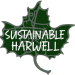 Sustainable Harwell leaf emblem